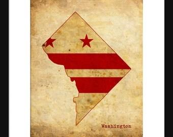 Washington DC Flag Map - Print Poster Map - Sepia Grunge 2