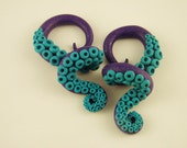 """Custom order for hemcandrews - 2 pair Pretty Wrapped Octopus Tentacle Gauges - 1/2"""" and 1"""" size"""