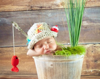 Baby Fishing Fisherman Hat & Fish in Oatmeal and Taupe, Newborn, 0-3 Months, 3-6 Months, Photography Prop - MADE TO ORDER