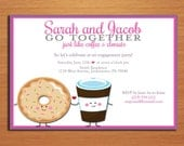Coffee and Donuts Famous Pair Engagement Party Customized Printable Invitations /  DIY