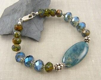 Teal Bracelet, Apatite Bracelet, Blue Silver Bracelet, Blue Beaded Bracelet, Boho Teal Green Silver Bracelet