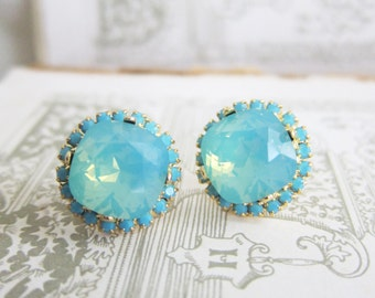 Turquoise Earrings Swarovski Crystal Earrings Seafoam Stud Earrings Aqua Teal Wedding Bridal Jewelry Vintage Heirloom Estate Jewelry