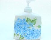 Light Blue Hydrangea Soap Dispenser