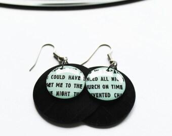 recycled earrings light mint earrings unique dangle earrings geekery jewelry music jewelry eco design vinyl record earrings unique jewelry