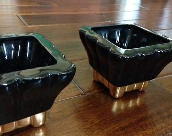 Vintage Pair of Black and Gold Square Planters