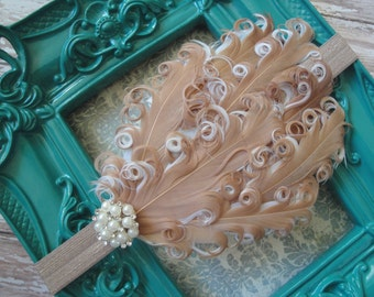 Caramel Bliss Feather Headband - Tan/White Feathers & Rhinestone/Pearl Button on Stretch Elastic - made to fit any age