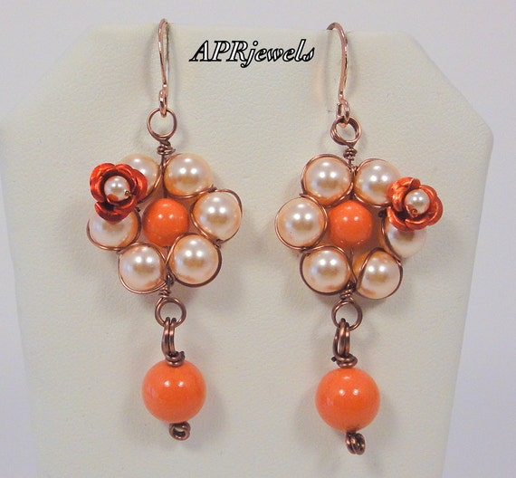 Red Rose Peach Flower Wire Wrapped Earrings/Romantic Earrings/Flower Earrings/Swarovski Pearl Earring/Wedding Jewelry/Party Jewelrys/Coral