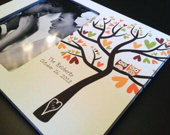Family Tree Frame Wedding Gift Anniversary Gift Personalized Adoption Keepsake New Family Wood 4x6 Photo Frame Love Birds Owl Gift