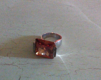 Vintage Sterling Silver and Orange colored Citrine type,crystal,ring Size 8 Excellent Condition