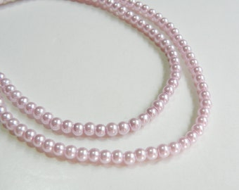 Lilac lavender glass pearl beads round 4mm full strand 7731GB
