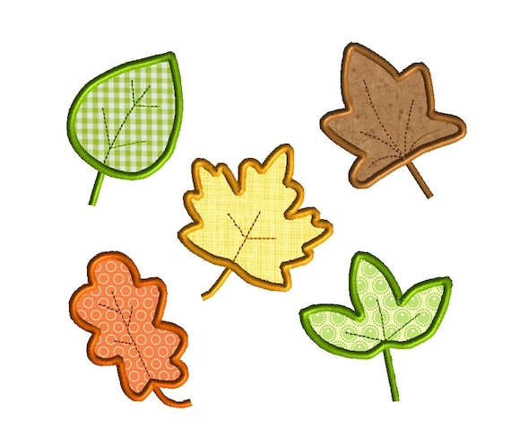 5 Fall Leaves Applique Machine Embroidery Designs-INSTANT DOWNLOAD
