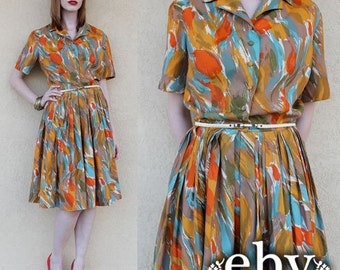 Vintage 1950s Dress Vintage 50s Full Skirt Dress S M 50s Day Dress 50s Dress Shirtwaist