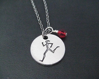 RUNNER GIRL Round Pendant Necklace with Crystal on Gunmetal chain - Choose Your Crystal - The Run Home's Running Girl Charm - Birthstone