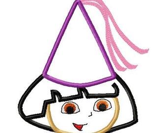 Dora the explorer birthday princess head applique design instant download