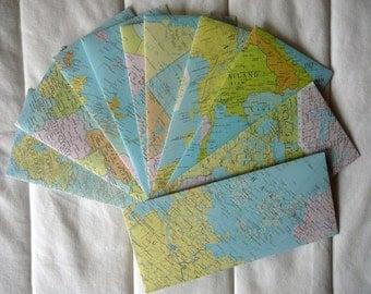 "Vintage World Atlas Business Envelopes-- 4 1/8"" x 9 1/2"""