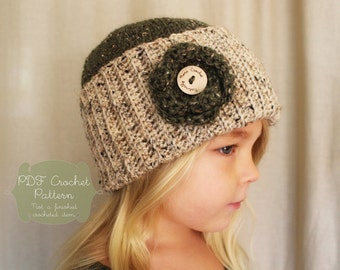 Crochet Pattern: The Cadence Cap -Toddler, Child, Adult Sizes-rose, rustic, tweed, ribbed, fall, button, fisherman, beanie, removable flower