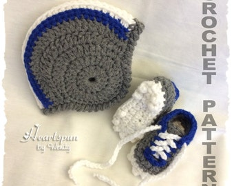 CROCHET PATTERN To make a Football Helmet Baby Hat with optional chin straps and Baby Sports Cleats Shoes, Instant Download, PDF Format