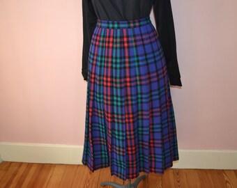 Purple Plaid Skirt.   Flannel Skirt.  Preppy Clothing.     Modern Size 8 Medium- VDS76