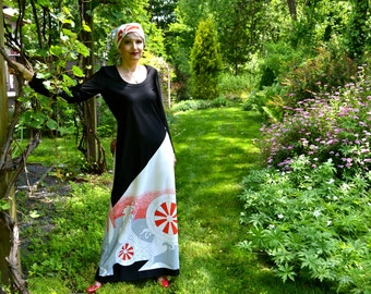 1970's Mod Pop Art Dress and Head Scarf in Japanese Abstract Print   Size Medium Large - VDS89