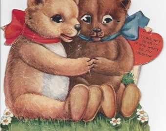 Set / Lot of 3 1920s Antique / Vintage Large Movable / Moveable Valentine Cards -  Dog - Teddy Bears - Flowers