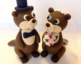 Otter Wedding Cake Topper - Choose Your Colors