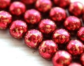 Dark Pink with Golden splashes 8mm Glass beads, czech round beads, coated - 22Pc - 1378