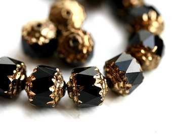 Black cathedral beads, czech glass, puffy, golden ends, round, fire polished - 8mm - 15Pc - 2523
