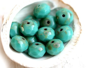 Turquoise green beads, Picasso Czech glass spacers - donut, rondelle, gemstone cut, fire polished - 6x8mm - 12Pc - 1350