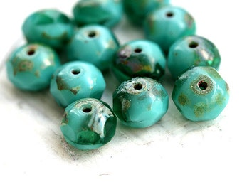 Turquoise green mix, Czech glass beads - Ocean teal, green, picasso - donut, rondelle, gemstone cut, fire polished - 6x8mm - 12Pc - 1361