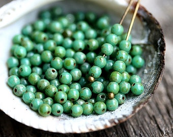 200Pc - 3mm Turquoise green Picasso beads, czech glass small round druk spacers - 2700