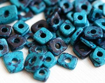 Greek ceramic Chip beads - Indigo Blue tiny spacers, irregular geometry beads, 5mm - approx.70pc - 1578
