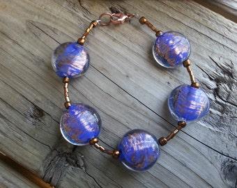 Blue and Copper Beaded Bracelet