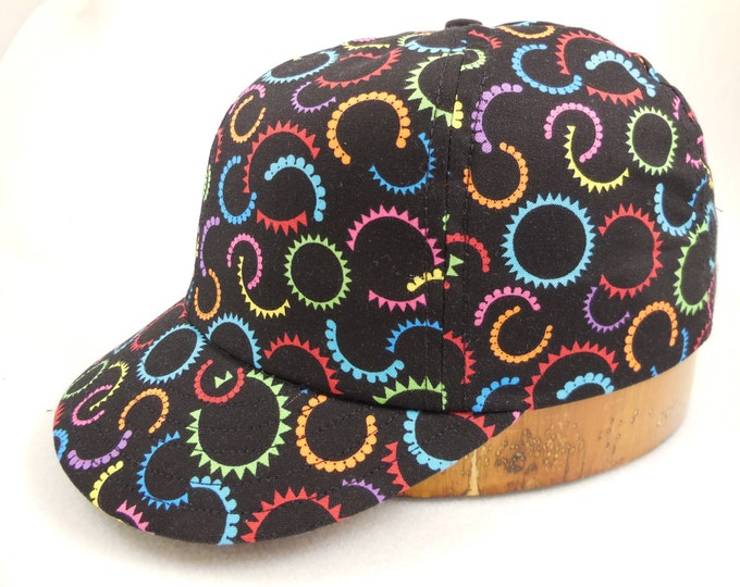 Hand crafted, custom made cotton print 6 panel cap, long or short visor, adjustable or fitted with cotton sweatband