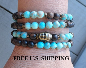 Buddha, 108 Mala, Meditatio,n wrap bracelet or necklace, Terra Jasper, Prayer beads, Yoga, meditation bracelt, Reiki Charged,