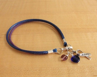 Purple and Blue Awareness Bracelet - Cotton - Rheumatoid Arthritis / RA & Pediatric Stroke