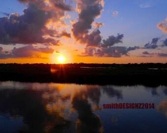 Sunset Photo, Photography, South Carolina Marsh, Garden City Sunset, Beach House Decor, Vinyl Wall Decal, by Abby Smith, (FREE SHIPPING)