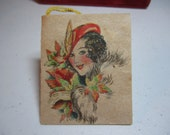 Gorgeous unused 1920's-30's hallmark bridge tally card colorful fall graphics with pretty lady in red hat and fur coat holding fall leaves