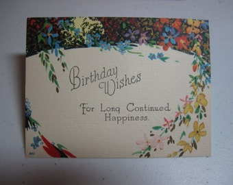 Pretty unused 1920's-30's  gold gilded art deco birthday card colorful wildflower graphics