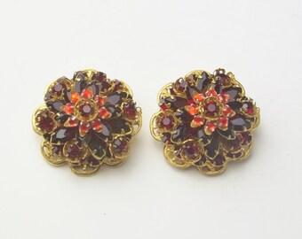 Vintage Stanley Hagler N.Y.C. Garnet Red Rhinestone Russian Gold Plate Filigree Costume Jewelry Clip Earrings on Etsy