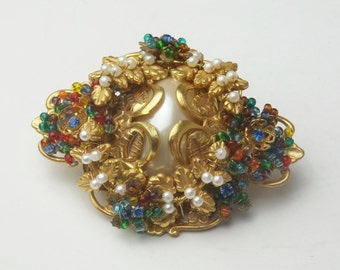 Stanley Hagler N.Y.C Multi Color Glass Seed Beads Faux Seed Pearls Gold Leaf Cabochon Vintage Costume Jewelry Brooch Pin