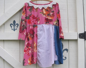 Hippie top tunic, upcycled dress, patchwork tunic, Hippie, babydoll tunic, floral boho mini, M-L, upcycled by Shaby Vintage