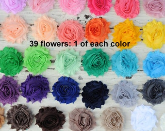 "Fabric Flowers - Shabby Flowers - Chiffon Frayed Flowers - Set of 39 - 1 of Each Color - Wholesale Fabric Flowers - 2.5"" Flower - REGULAR"