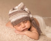 Newborn Hat, Stocking Hat, Blue, Cream, Brown, Sand, Photo Prop