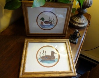 Pair of Hand Painted Watercolor Mallard Ducks by Emily Chowning in Oak Frames