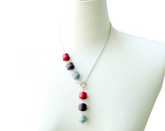 Genuine Leather Ball Necklace - Pink/Purple