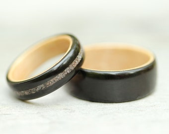Bentwood Ring Set - Grenadilla featuring Rock Maple Liner and Glass Inlay - And We Plant A Tree:)