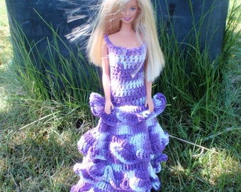 Barbie crochet pattern PDF long ruffled  dress