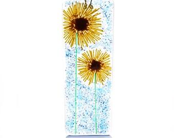 Sunflowers fused glass wall art suncatcher teachers teacher gift gifts presents flower wedding bride bridesmaid house mom mum birthday