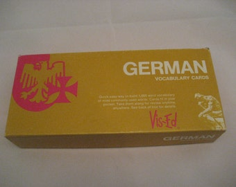 Vis Ed German Vocabulary Cards Vintage 1980s German Flashcards Language Study Aid Paper Ephemera