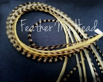 "10 Premium Feather Extensions, Extra Long Long, Vanilla Grizzly And Solid Feathers 9""-12"""